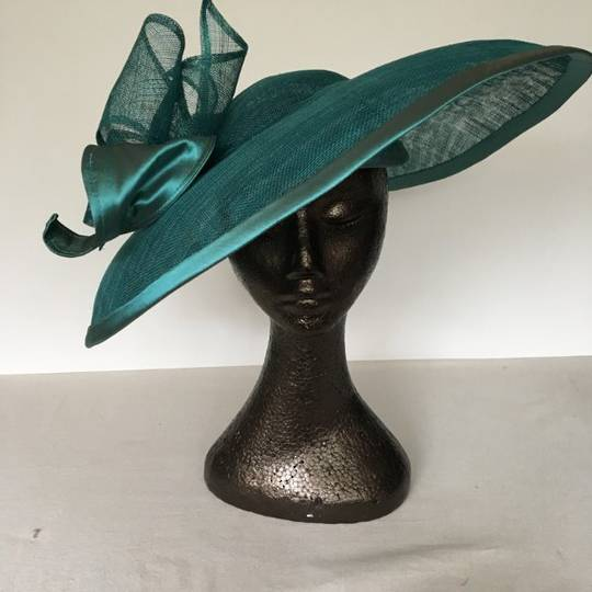 Teal green sinamay and silk