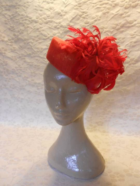 Red Feather Flower Hat $258