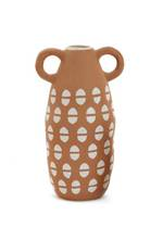Loop Handle Ceramic Vase Tan-White - Large