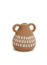 Loop Handle Ceramic Vase Tan-White - Small