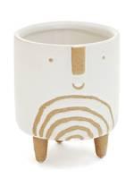 Ceramic Face Planter White-Tan