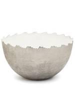 Metal White/Silver Bowl - Large