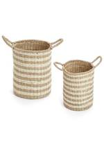 Stripe Seagrass Baskets Set of 2