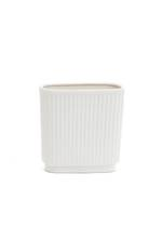 Delfie Ceramic Oval Vase White - Small