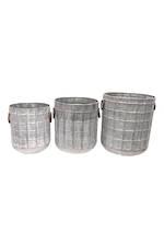 Beckett Grid Texture Galvanised Planters - Set of 3