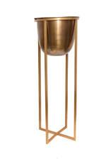 Atlas Tall Metal Floor Standing Planter Antique Brass 62cm