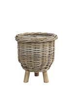 Rattan Planter w/ Wooden Legs - Small