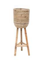 Stripe Rattan Standing Planter - Large