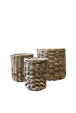 Set of 3 Wicker Baskets - Dark Natural