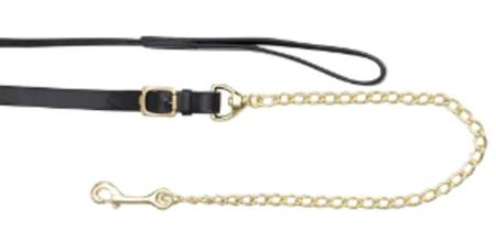 Aintree Leather Lead/Brass Plated Chain