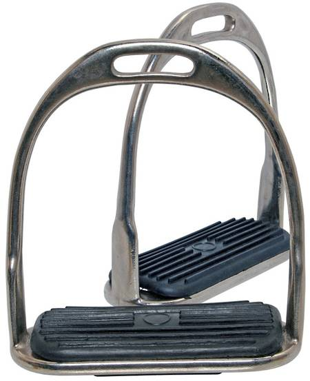 Blue Tag Nickel Plated Stirrup Irons Fitted With Rubber Treads