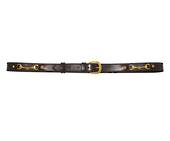 Platinum Leather Belt With Brass Snaffles
