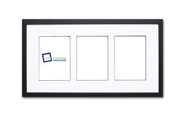A4 3-Window Black Frame White Mat 52sb