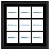 200x200mm 9-Window Black Frame Black Mat 406sb