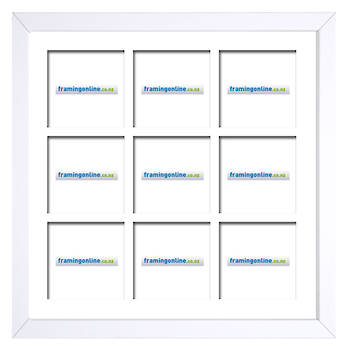 200x200mm 9-Window White Frame White Mat 52sw