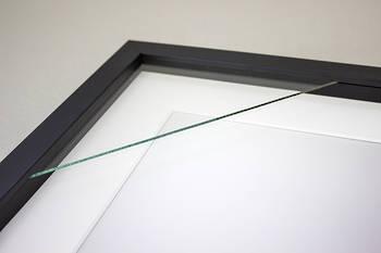 200x200mm 2-Window Black Box Frame White Mat 52sb