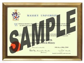 Massey University Degree Gold Frame 802