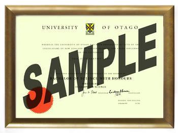 University of Otago Degree Gold Frame 802