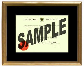 University of Otago Degree Gold Frame 210