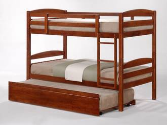 Cosmos Single Bunk Oak with Trundle Bed