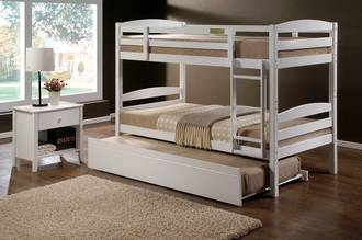 Cosmos Single Bunk White with Trundle Bed