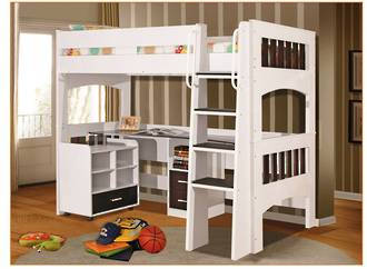 Miami White and Brown Single Loft Bunk