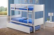 Jupiter King Single Bunk White with Trundle Bed