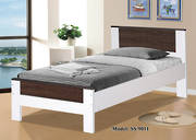 Denver Single Bed White and Brown