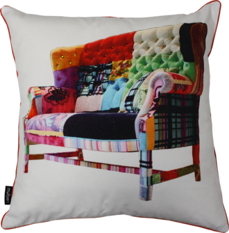 21342C Patchwork Lounge Chair - Multi/White
