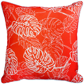 22663C Palm Leaves - Blood Orange