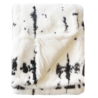 3163T Mottled Rabbit Fur - Black-White