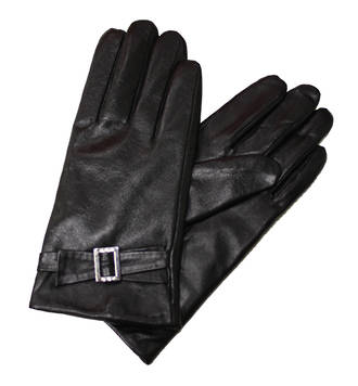 Leather Gloves with Buckle - Black