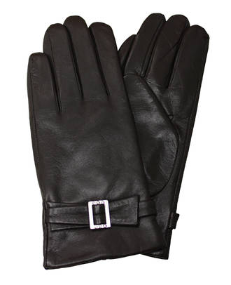 Leather Gloves with Buckle - Brown