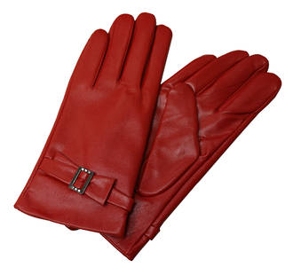 Leather Gloves with Buckle - Red