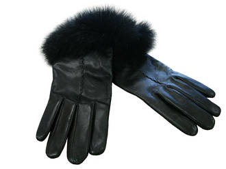 NZ Opossum Fur Trimmed - Black