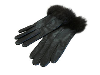 Rabbit Fur Trimmed - Black