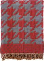21791T Houndstooth Throw - Red/Taupe