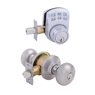 Keypad Deadbolt + Olympus Entrance Satin Nickel