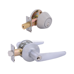 Cambridge Entrance Lock with Single Cylinder Deadbolt Keyed Alike Satin Chrome