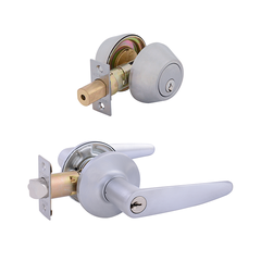 Cambridge Entrance Lock with Double Cylinder Deadbolt Keyed Alike Satin Chrome