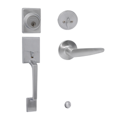 Capri/Cambridge Entrance Handle Set with Single Cylinder Deadbolt Satin Chrome
