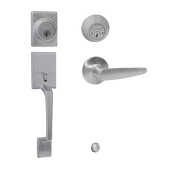 Capri/Cambridge Entrance Handle Set with Double Cylinder Deadbolt