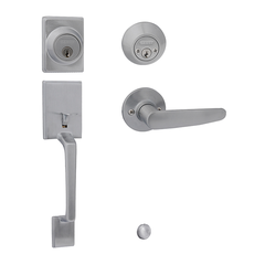 Capri/Hawthorn Entrance Handle Set with Double Cylinder Deadbolt