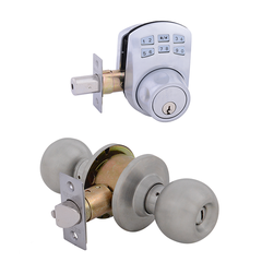 Keypad Deadbolt + Bala Entrance Satin Nickel