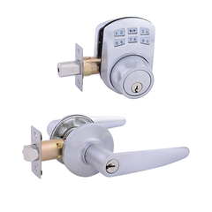 Keypad Deadbolt + Cambridge Entrance Satin Chrome