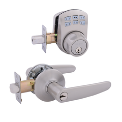 Keypad Deadbolt + Hawthorn Entrance Satin Nickel