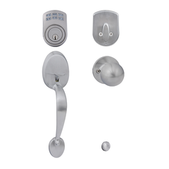 Keypad Deadbolt + Mayfair Gripset Bala Knob Satin Chrome