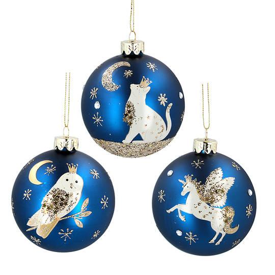 Glass Ball Matt Blue, Starlight 8cm