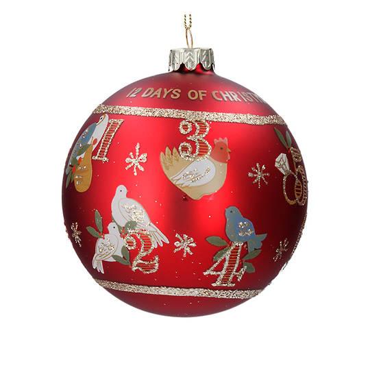 Glass Ball Matt Red, 12 Day Christmas 8cm