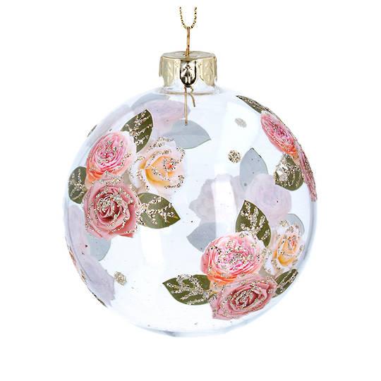 Glass Ball Clear, Pink Roses 8cm